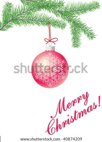 christmas tree branch with a ball isolated on white with copy space - stock vector
