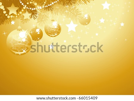 Christmas tree branch with golden balls - stock vector