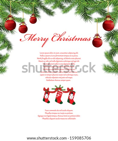 Christmas tree branches background - stock vector