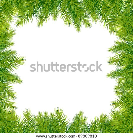 Christmas Tree Branches Border, Isolated On White Background, Vector Illustration - stock vector
