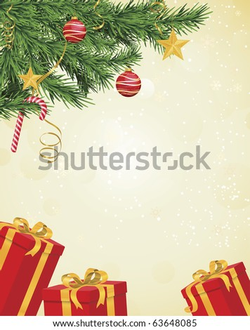 Christmas tree branches in corner over hanging pale yellow background with red and gold gifts underneath - stock vector