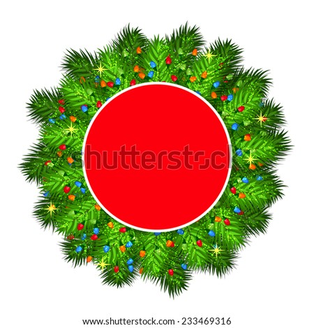 Christmas tree branches with empty round frame - stock vector