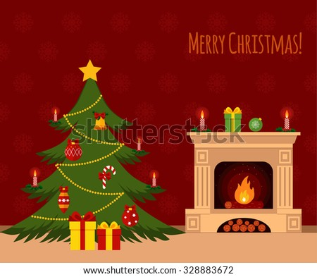 Christmas tree by the fireplace illustration made in flat style - stock vector