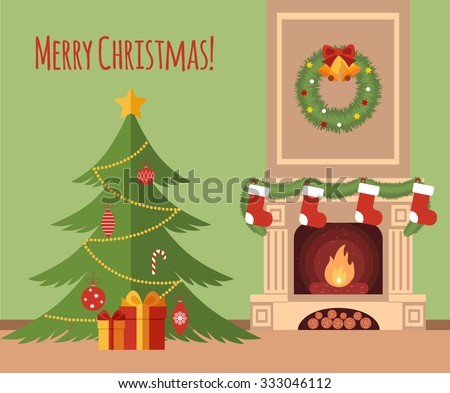 Christmas tree by the fireplace illustration made in flat style