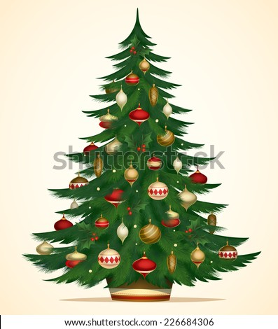Christmas tree card \ poster \ banner. Vector illustration. - stock vector