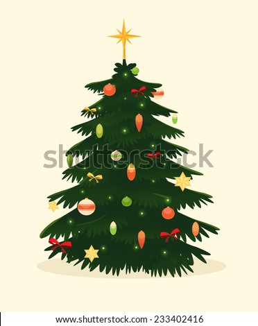 Christmas tree card. Vector illustration. - stock vector