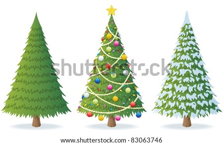 Christmas Tree: Cartoon illustration of Christmas tree in 3 different situations.  No transparency used. Basic (linear) gradients. - stock vector