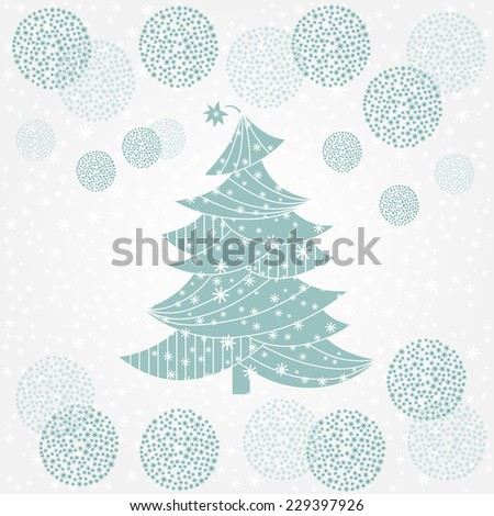 Christmas tree. Christmas and New Year background. Holiday card template. Blue winter background. - stock vector