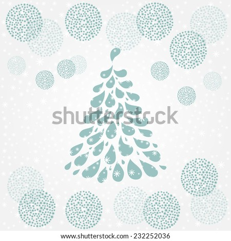 Christmas tree. Christmas and New Year background. Holiday card template. Blue winter background. Light blue celebratory background. - stock vector