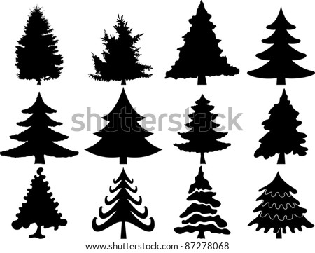 Christmas tree collection - stock vector