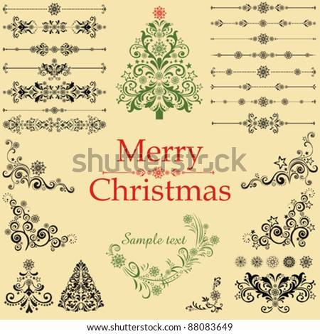 Christmas tree. Collection of Christmas design elements isolated on White background. Vector illustration - stock vector