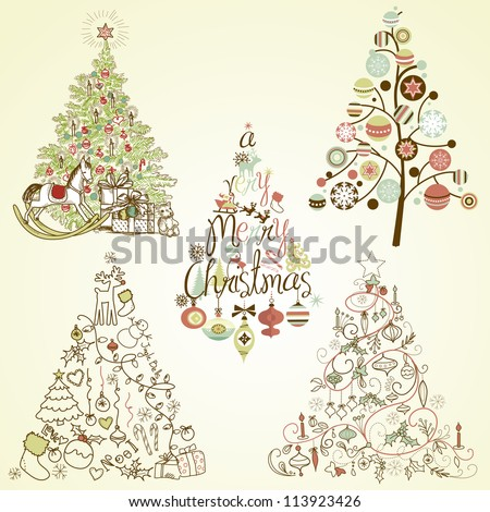 Christmas tree collection. Vintage, retro, cute, calligraphic - all type of hand drawn trees - stock vector