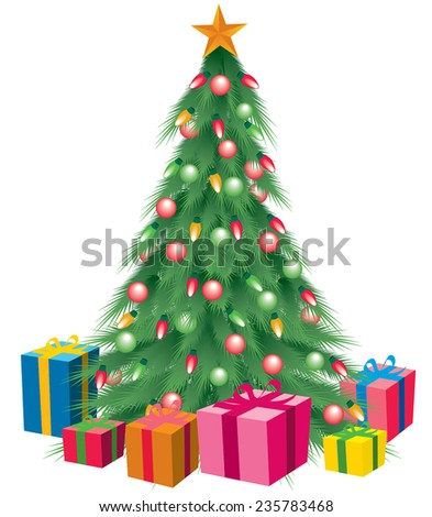 Christmas Tree Colorful Bright Green With Star And Gifts Underneath