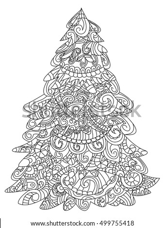 christmas tree coloring book vector illustration anti stress coloring for adult zentangle style - Coloring Book Christmas Tree