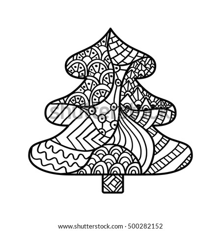 christmas tree coloring page high details stock vector 500282152