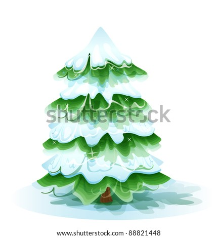 Christmas tree covered with deep snow - stock vector