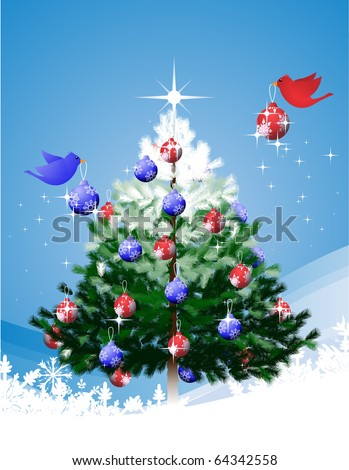 Christmas Tree decorated by birds Cute illustration of birds decorating a christmas tree overtop an abstract background. - stock vector