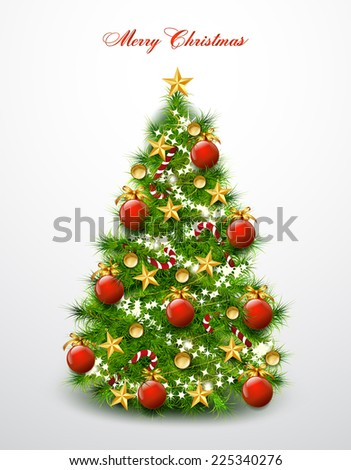 Christmas tree decorated with balls and stars. Vector - stock vector