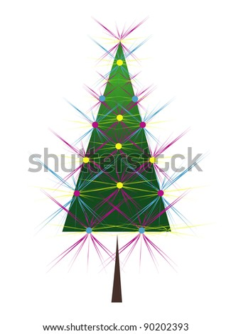 christmas tree decorated with lights - stock vector