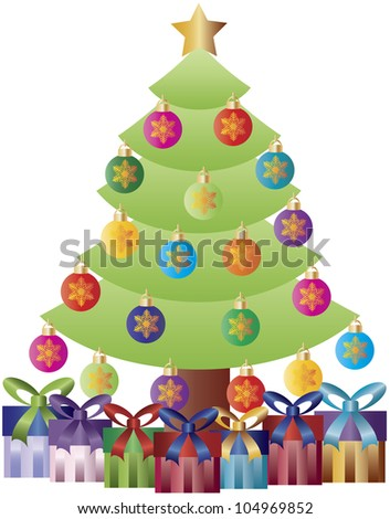 Christmas Tree Decorated with Snowflake Ornaments and Gift Wrapped Presents Illustration - stock vector
