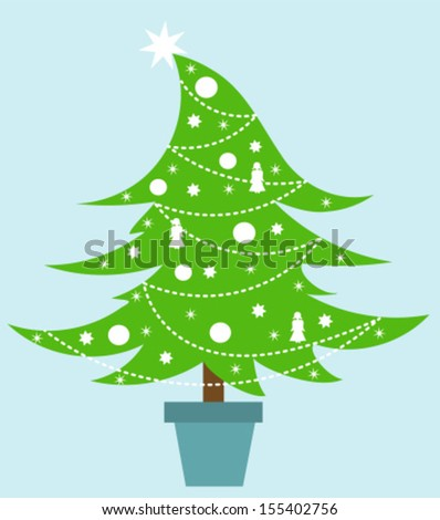 Christmas tree decorated with white ornaments. Vector illustration - stock vector