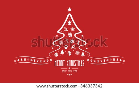 christmas tree decoration elements red background - stock vector