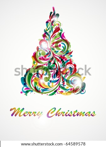 Christmas tree decorative abstraction background - stock vector