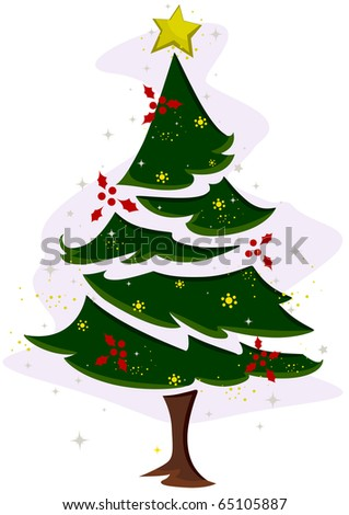 Christmas Tree Design Featuring a Christmas Tree Covered in Snow - stock vector