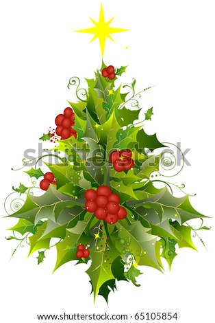 Christmas Tree Design Featuring a Cluster of Holly and Poinsettia - stock vector
