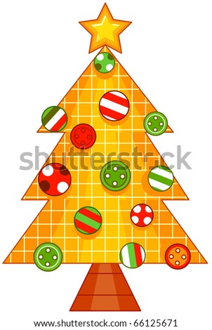 Christmas Tree Design Featuring a Piece of Fabric Shaped Like a Christmas Tree and Adorned with Buttons - stock vector