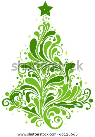 Christmas Tree Design Featuring Abstract Swirls Shaped Like a Christmas Tree - stock vector