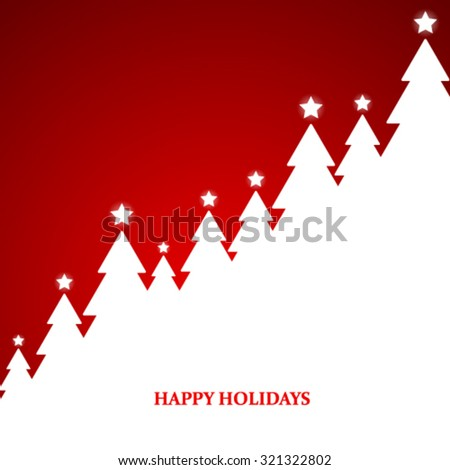 Christmas Tree Design Red Background - stock vector