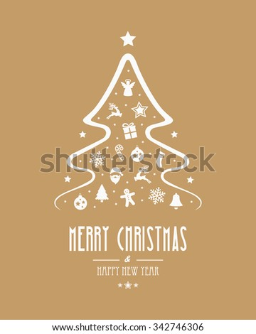 christmas tree elements gold background - stock vector