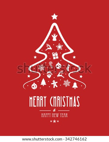 christmas tree elements red background - stock vector