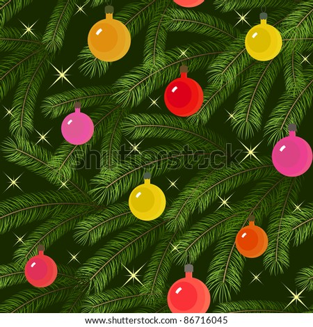 Christmas tree fir branch decorated seamless - stock vector