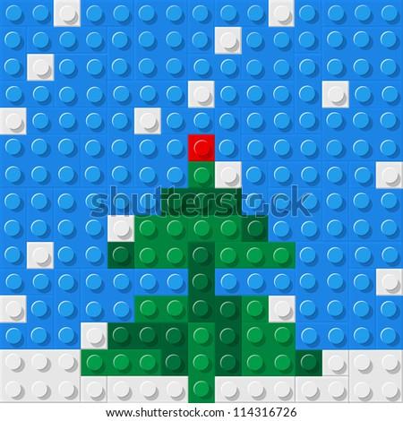 Christmas tree formed from plastic construction blocks. Vector illustration - stock vector