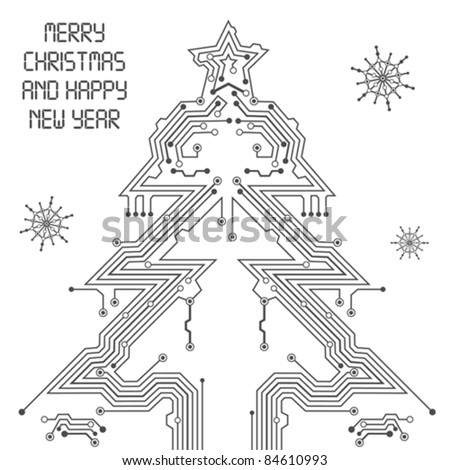 Christmas Tree from circuit board with Digital Snowflake, element for design, vector illustration - stock vector