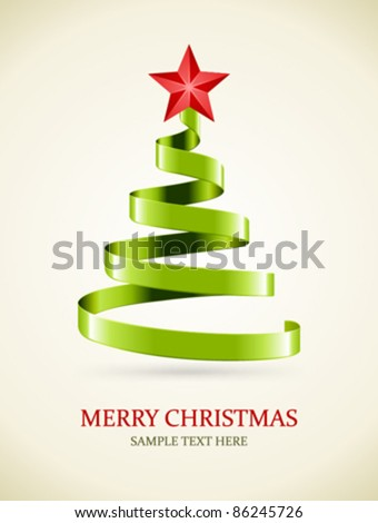 Christmas tree from green ribbon and star vector background. Eps 10. - stock vector