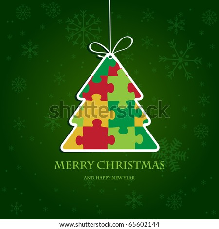 Christmas tree from jigsaw puzzle. Christmas card with bright colors. Paper christmas tree. Vector illustration for christmas poster, card, t-shirt or web. - stock vector