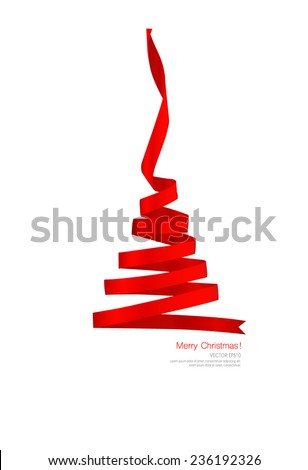 Christmas tree from Shiny red ribbon on white background. Vector illustration. - stock vector