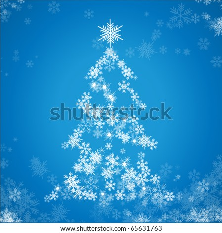 Christmas tree from snowflakes - stock vector