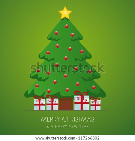 christmas tree gift box and gold star - stock vector