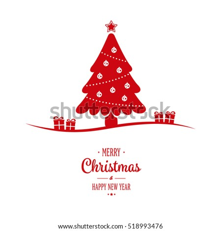 christmas tree gift greeting white background