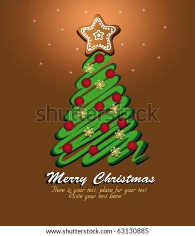 Christmas tree green, template card brown. vector