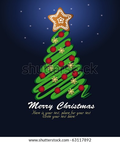 Christmas tree green vector template