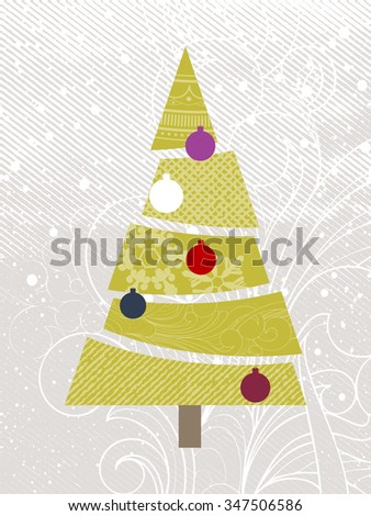 Christmas tree Greeting Card - stock vector