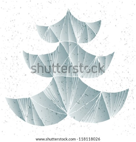 Christmas Tree Greeting Card ... Grunge abstract illustration of christmas tree in modernistic manner - stock vector