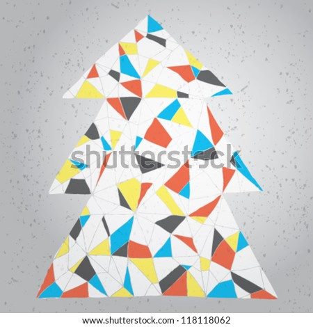 Christmas Tree Greeting Card ... Grunge abstract illustration of christmas tree in modernistic manner on gradient background (Mondrian colors) - stock vector