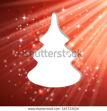 Christmas tree greeting card light vector background - stock vector