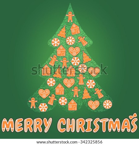Christmas tree greeting card with gingerbread cookies. Vector illustration.